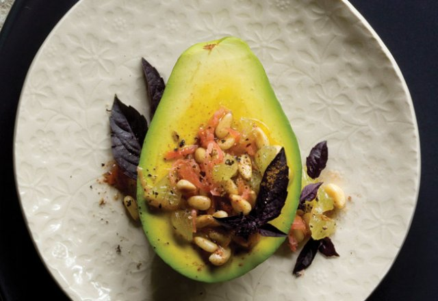 Avocado with lime, pickled ginger & toasted pine nuts
