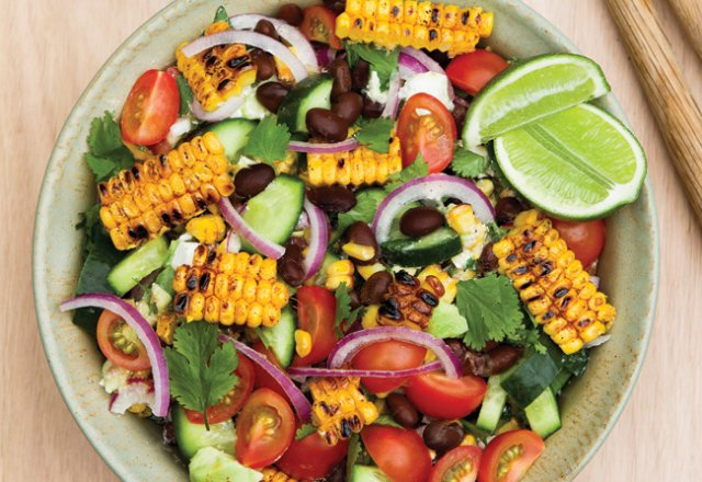 Chargrilled corn and black bean salad