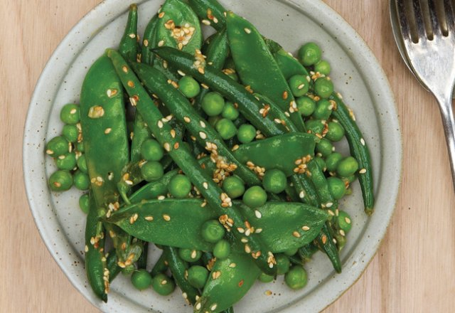 Green bean, pea and snowpea salad with tahini dressing