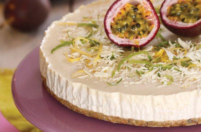 Passionfruit White Chocolate And Cashew Cheesecake